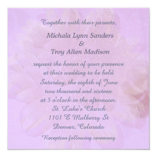 "Orchid Lavender Abstract Floral Wedding 5.25"" Square Invitation Card"