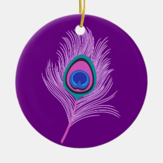 Orchid Peacock Feather on Amethyst Purple Ceramic Ornament