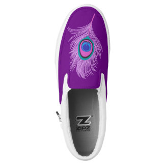 Orchid Peacock Feather on Amethyst Purple Slip-On Sneakers