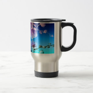 Orchid Pink Blue Sky Vine Customize Travel Mug