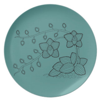 Orchid Plant Floral Dinner Plate