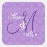 Orchid Purple Damask Wedding  Monogram S530A