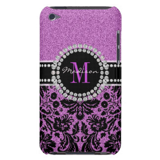 Orchid purple glitter Damask, Name and Monogram Barely There iPod Case