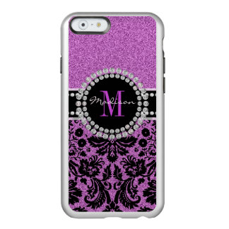 Orchid purple glitter Damask, Name and Monogram Incipio Feather® Shine iPhone 6 Case
