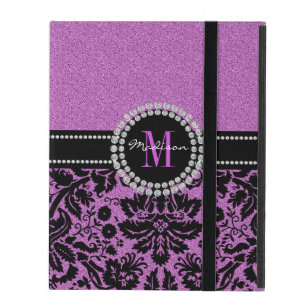 Orchid purple glitter Damask, Name and Monogram iPad Cover
