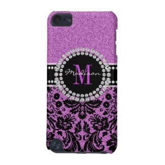 Orchid purple glitter Damask, Name and Monogram iPod Touch 5G Cover