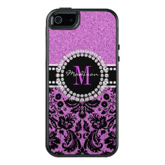 Orchid purple glitter Damask, Name and Monogram OtterBox iPhone 5/5s/SE Case