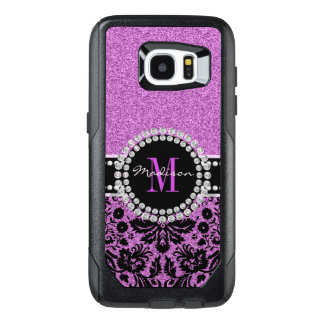 Orchid purple glitter Damask, Name and Monogram OtterBox Samsung Galaxy S7 Edge Case