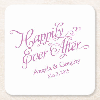 Orchid Purple White Happily Ever After Wedding Square Paper Coaster