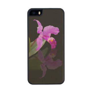 Orchid Reflected on Black Carved® Maple iPhone 5 Slim Case
