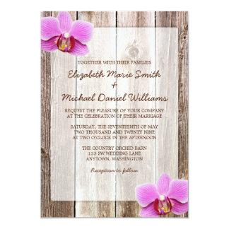 Orchid Rustic Barn Wood Wedding Invitations