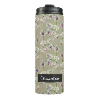 Orchid Watercolor Painting with Name Thermal Tumbler