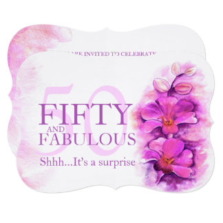 Orchid watercolor purple fifty and fabulous card