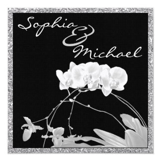 """Orchid WEDDING Invitationwith Bling 5.25"""" Square Invitation Card"""