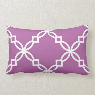 Orchid White Large Fancy Quatrefoil Pattern Lumbar Pillow