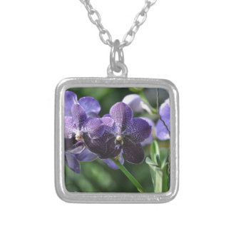 Orchidae purple square pendant necklace
