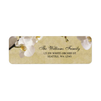 Orchidée blanche vintage étiquettes d'adresse retour