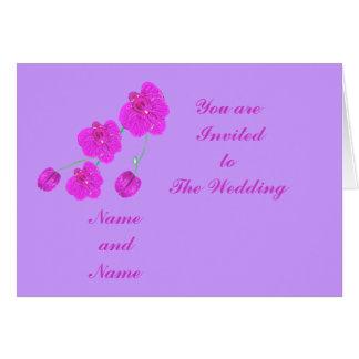 Orchidée de pourpre d'invitations de mariage carte de vœux