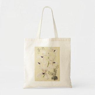 Orchidées blanches et bleues sac en toile budget