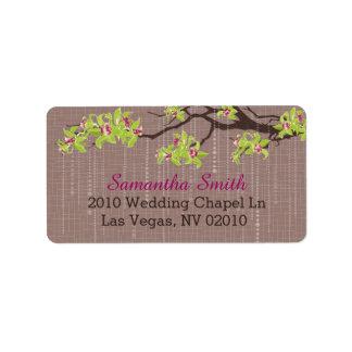 Orchidées et branches épousant des étiquettes étiquette d'adresse