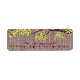 Orchidées et branches épousant des étiquettes étiquette d'adresse retour