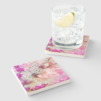 Orchids and Butterflies Stone Coaster