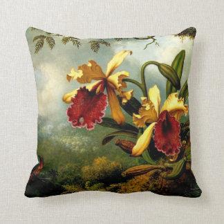 Orchids and Hummingbird botanical art Throw Pillow