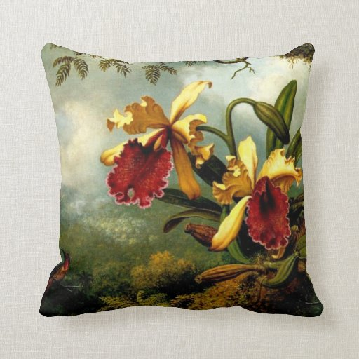 Orchids and Hummingbird, botanical art Throw Pillow