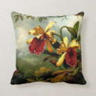 Orchids and Hummingbird, botanical art Throw Pillow