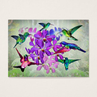 Orchids and hummingbirds business card
