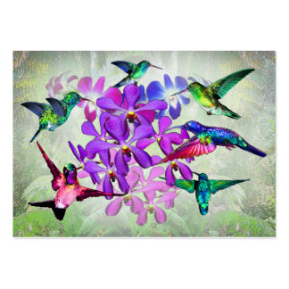 Orchids and hummingbirds large business card