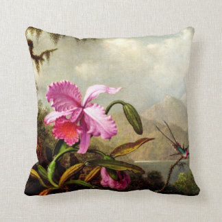 Orchids and Hummingbirds near a Mountain Lake Throw Pillow