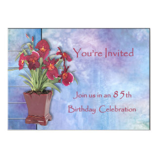 Orchids and Watercolor 85th Birthday Card