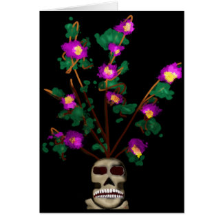 Orchids in a Skull Vase Card