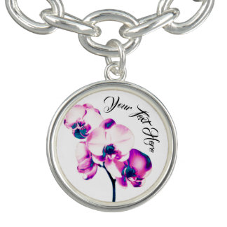 Orchids Personalized Charm Bracelet