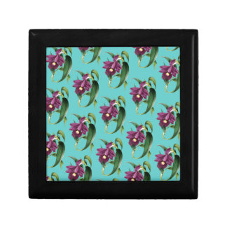 Orchids Purple Pattern Teal Gift Box