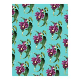 Orchids Purple Pattern Teal Letterhead