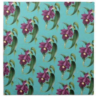 Orchids Purple Pattern Teal Napkin