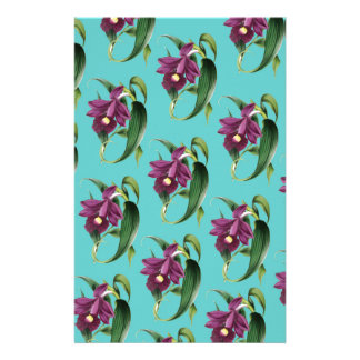 Orchids Purple Pattern Teal Stationery