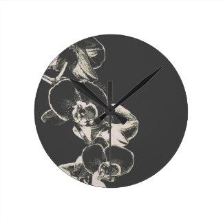 Orchids Round Clock