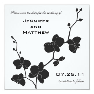 Orchids Save the Date - Black and White Card