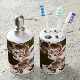 Orchids Soap Dispenser And Toothbrush Holder