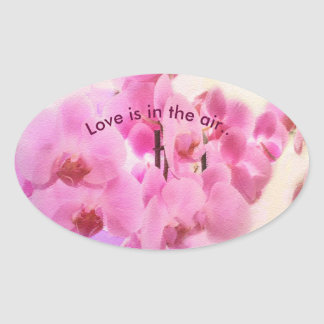 orchids. text. oval sticker