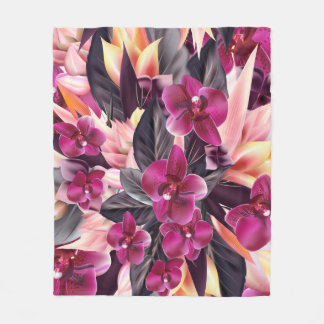 Orchids. Tropical design with beautiful flowers an Fleece Blanket