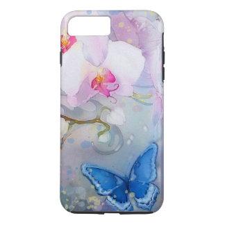 Orchids Watercolor White Lavender Blue Butterfly iPhone 8 Plus/7 Plus Case