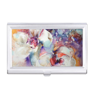 Orchids Watercolor White Lavender Blue Purple gold Business Card Holder