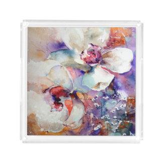 Orchids Watercolor White Lavender Blue Purple tray