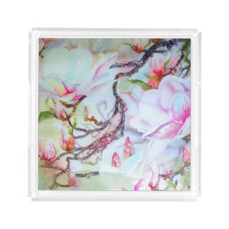 Orchids Watercolor White Pink Lavender Floral tray