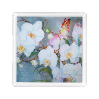 Orchids Watercolor White w Gold Butterfly pink Perfume Tray