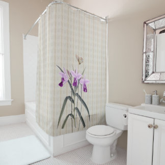Orchids with Antique Butterfly Shower Curtain